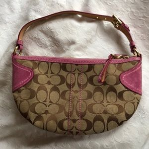 Coach; brown  and pink signature canvas